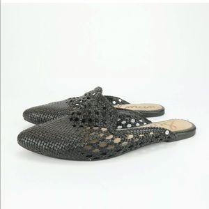 Sam Edelman Navya Womens Black Woven Leather Mules